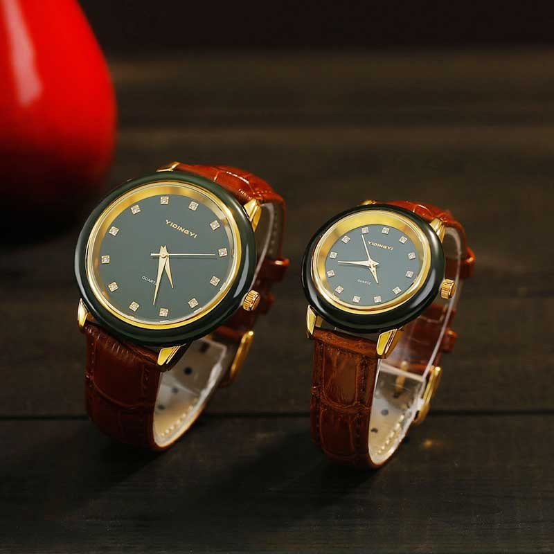 2019 Top Fashion New Sale Hetian Jade Moyu Men's Quartz Watch Gold With Packing Certificate And Women's Couple