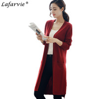 Lafarvie 2017 Autumn Winter Cashmere Blended Knitted Sweater Women Cardigan Standard Loose Solid Color Sweaters Female