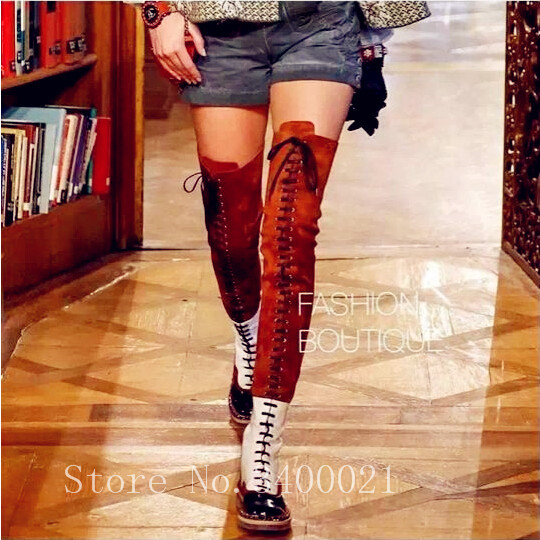 best quality promotion large assortment New Fashion Orange White Genuine Leather Suede Cross tied Over Knee High  Women Boots Flats Lace Up Cool Long Motorcycle boots-in Over-the-Knee Boots  ...
