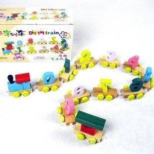 Juguetes educativos de aprendizaje de la primera infancia para contar el juego digital de madera tren de juguete niños creativos favoritos