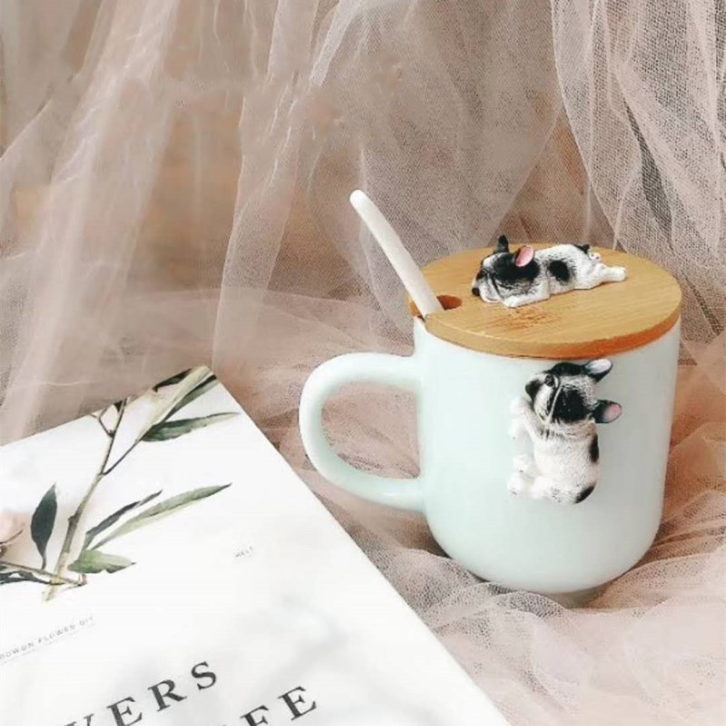 Creative Cartoon 3D Corgi French Bulldog Ceramic Mugs Cute Large Capacity Dog Cups Student Couple Mug For Friend Gift Cup in Mugs from Home Garden