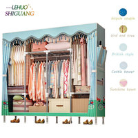 Simple Cloth Wardrobe 19MM Thick Steel Pipe Economical Assembled Closet Storage Cabinet Home Furniture