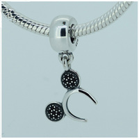 Authentic 925 Sterling Silver Mickey Headband Dangle Black CZ Pendant Fit European Beads Charms Bracelets Jewelry
