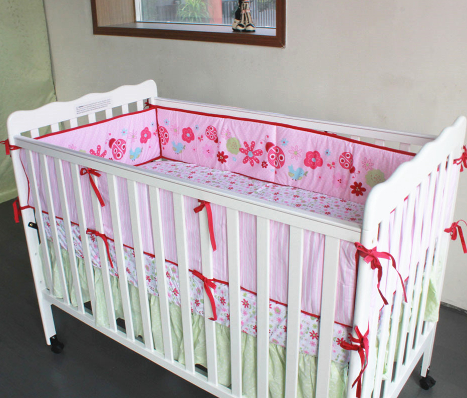 5pcs Embroidery Cot Bumper Cotton Baby Bed Bumper Bedding Cot Sheet Cot Bumpers Bed Sheet,include (4bumper+bed cover) 5pcs embroidery cotton crib bed linen kit cartoon baby cot bedding set bed sheet include 4bumper bed cover
