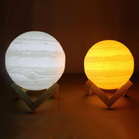 Night Light 3D Printing Jupiter Lamp Two Tone Dimmable Color Touch Sensor USB Operated LED Table