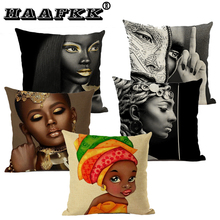 Black Cotton Linen Pillow Africa Style Print Case Made Pillowcase background Cushion Cover