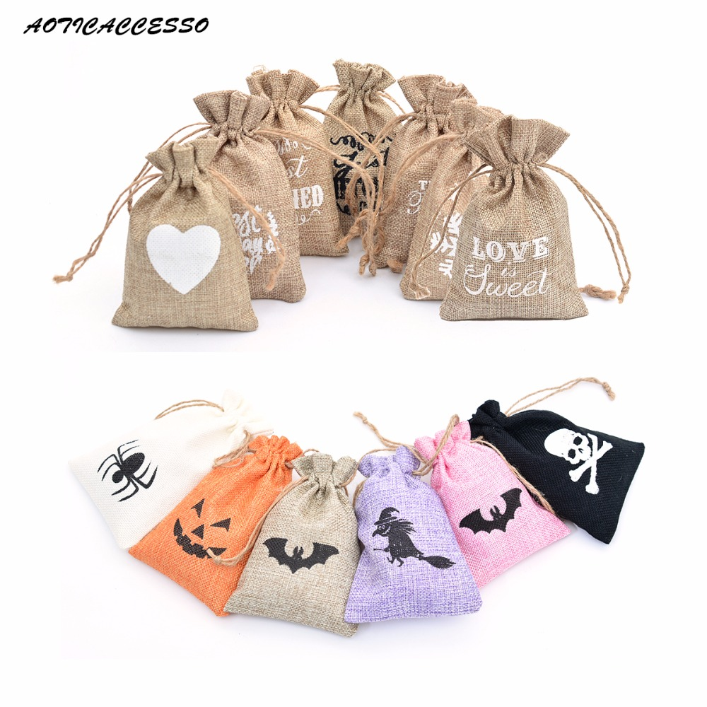 Wholesale Small Wedding Favors Sack Hessian Burlap Jute Drawstring Bag For Candy Jewelry Coffee Bean Jute Gift Bag Xmas Decor