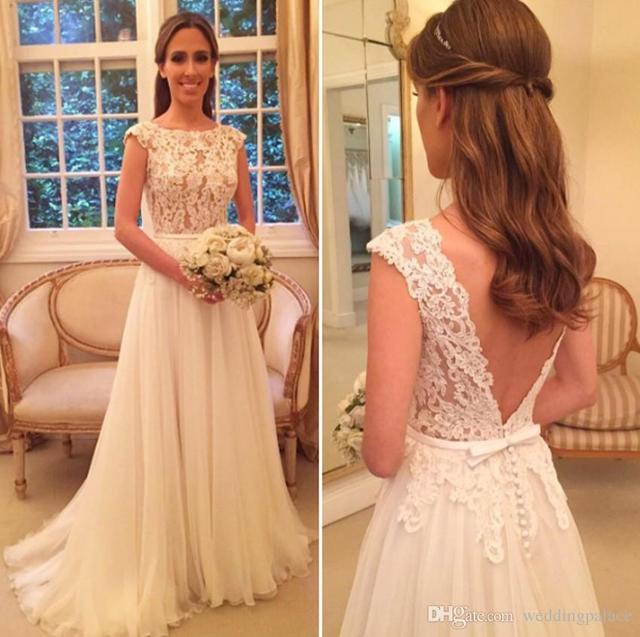 Vestido de noiva  Sexy Boho Wedding dress  Cheap Beach Wedding Gown 2019 Custom Made  Illusion Open Back  Robe de mariee