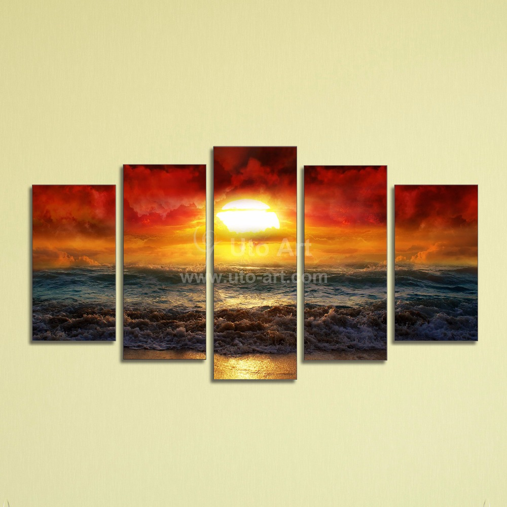 Affordable Wall Decor: 5 Panel Ocean Beach Decor Canvas Prints Picture Wall Art