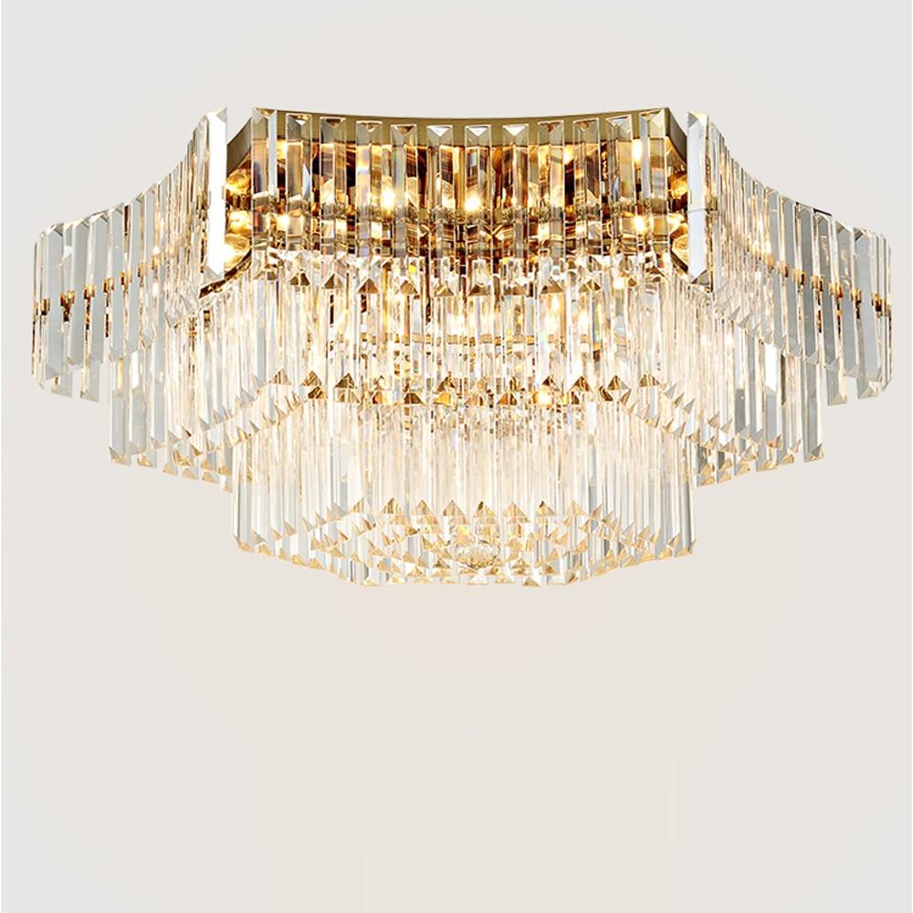 lustre design large crystal chandelier modern ceiling LED lights for home and hotel gold crystal lamp modern design large crystal chandelier lighting ceiling fixtures ac110v 220v luxury hotel crystal lights stair chandelier