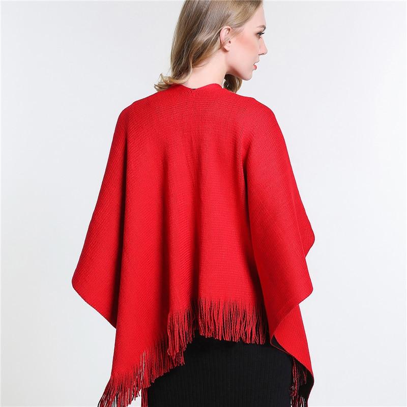 SUMEIKE  2018 Hiver Poncho Femmes Foulards Et Étoles Femelle Design De Mode  Qualité Rouge Couverture Écharpe Châle Cape Femme SMKP001 dans Foulards de  ... a6c93182d57