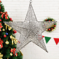 11.8-Polegadas Vermelho/Ouro/Prata Elegante Sparkly De Ferro de Cinco pontas-Estrelas Árvore De Natal Ornamento de Suspensão