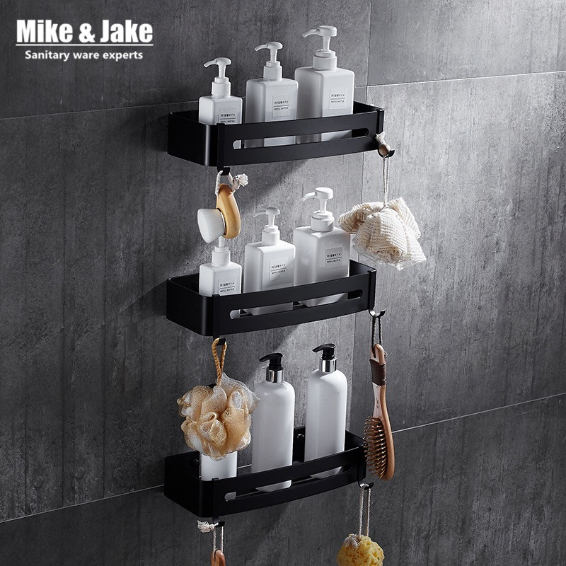 Black Aluminum Bathroom Corner Shelf Cosmetic Rack With Single Lever Bathroom Rack Shelf Households Rack Bathroom Corner Shelf
