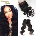 DHL Free Shipping Brazilian Body Wave Lace Closure Free Middle 3 Part Virgin Hair Closure With Part Swiss Lace Bleached Knots