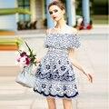 Sweet Платья 2017 Женщины Новый Сексуальный С Плеча Цветочный Печати Улица Над Коленом Мода Новинка Dress