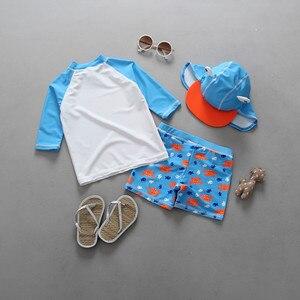 Image 2 - Conjunto de maiô com estampa de caranguejo, roupa de banho para bebês meninos com 3 peças, camiseta de manga longa para natação + troncos + chapéu