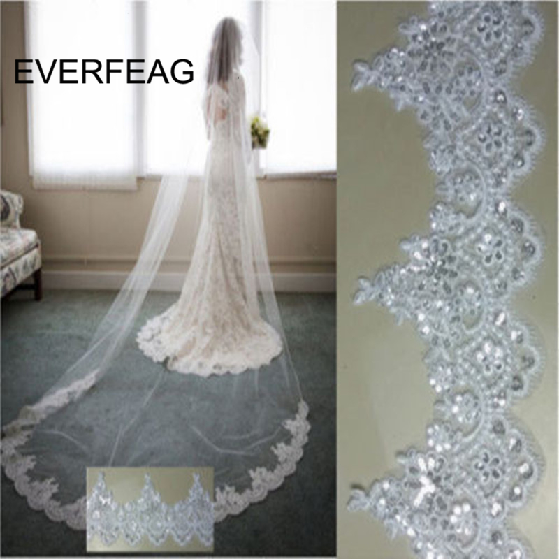 2019 Cathedral Bridal Veil 3m White Ivory Two Layer Lace Sequins Wedding Veils with Comb Wedding Accessories Veu de Noiva