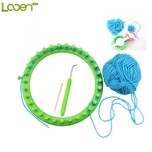 Looen 6pcs/set DIY Knitting Tool Set 19cm Knitter Looms Ring Yarn Scarf Hat Maker Chirldren DIY Heart Ball Yarn Weave Loom Set