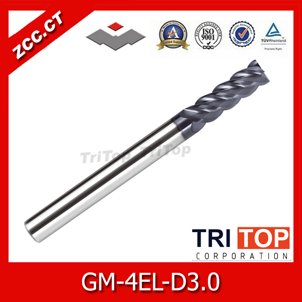 CNC machine tooling ZCC.CT GM-4EL-D3.0 carbide end mill 4 flute tungsten carbide end mills  milling cutters for stainless steel stainless steel axle sleeve china shen zhen city cnc machine manufacture