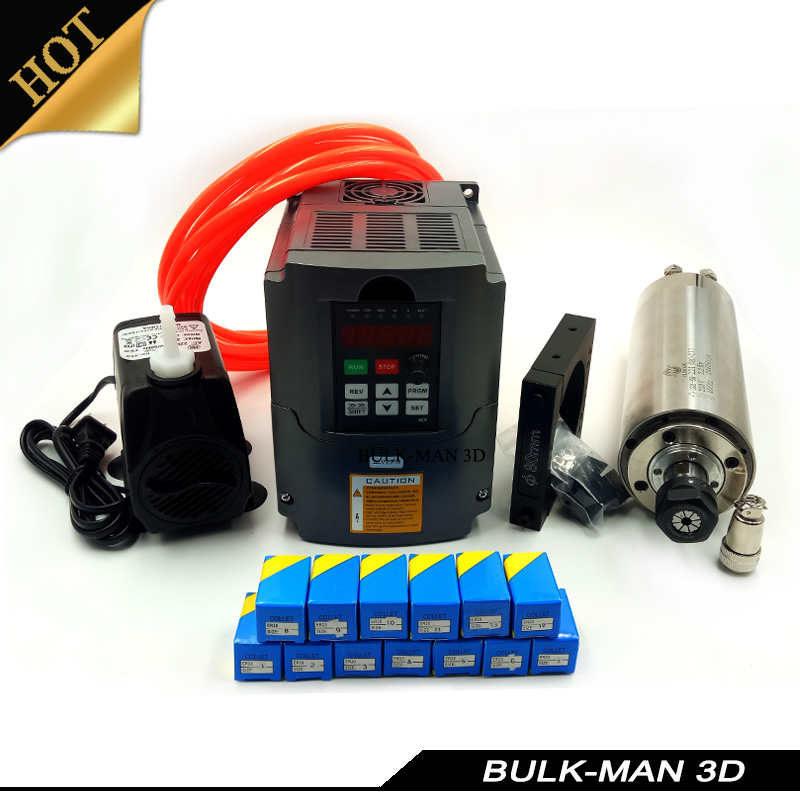 2.2KW Water Cooled Spindle Kit CNC Milling Spindle Motor + VFD + 80mm clamp + Water Pump/pipe +13pcs ER20 for WorkBee CNC Router orient dj00001b