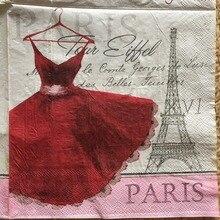 20 servilleta retro de papel lindo pañuelo de tejido impreso falda roja torre de París decoupage servilletas boda fiesta decoración del hogar
