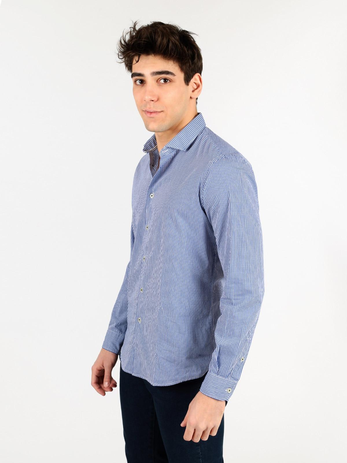 Cotton Plaid Shirt-Blue
