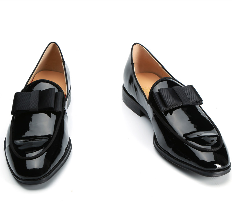 Qianruiti-Band-Men-Patent-Leather-Shoes-Bowknot-Slip-on-Oxfords-Belgian-Black-Bow-Decorated-Wedding-Handmade