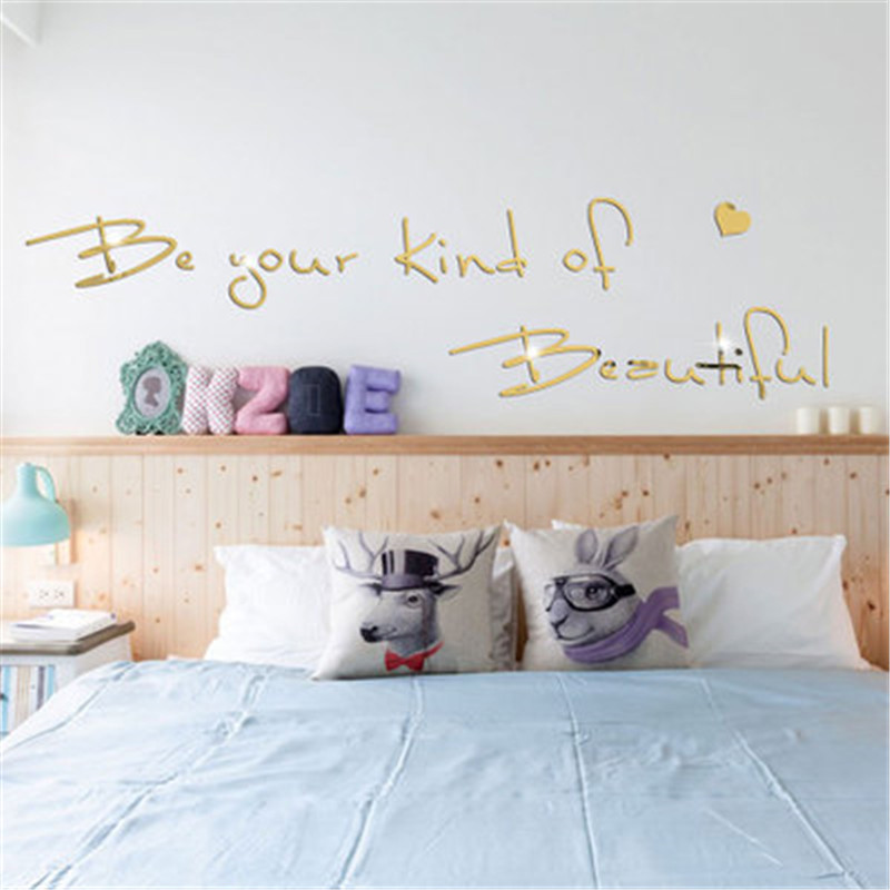 Be your own kind of beautiful quotes mirror wall sticker - Beautiful wall stickers for living room ...
