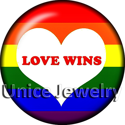 AD1302897 12/18/20mm Snap On Charms for Bracelet Necklace Hot Sale DIY Findings Glass Snap Buttons Love Heart Love Wins Design
