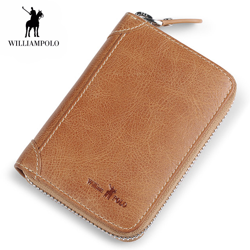 WilliamPOLO Genuine Leather Luxury Brand Men Wallets Zip Wallet Card Holder Purse Male Cow Leather Wallet ID Card Dollar Holder цена