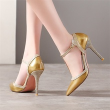 summer fashion womens sandals patent leather fabric T-type buckle 10 CM high heel shoes women size 33-46