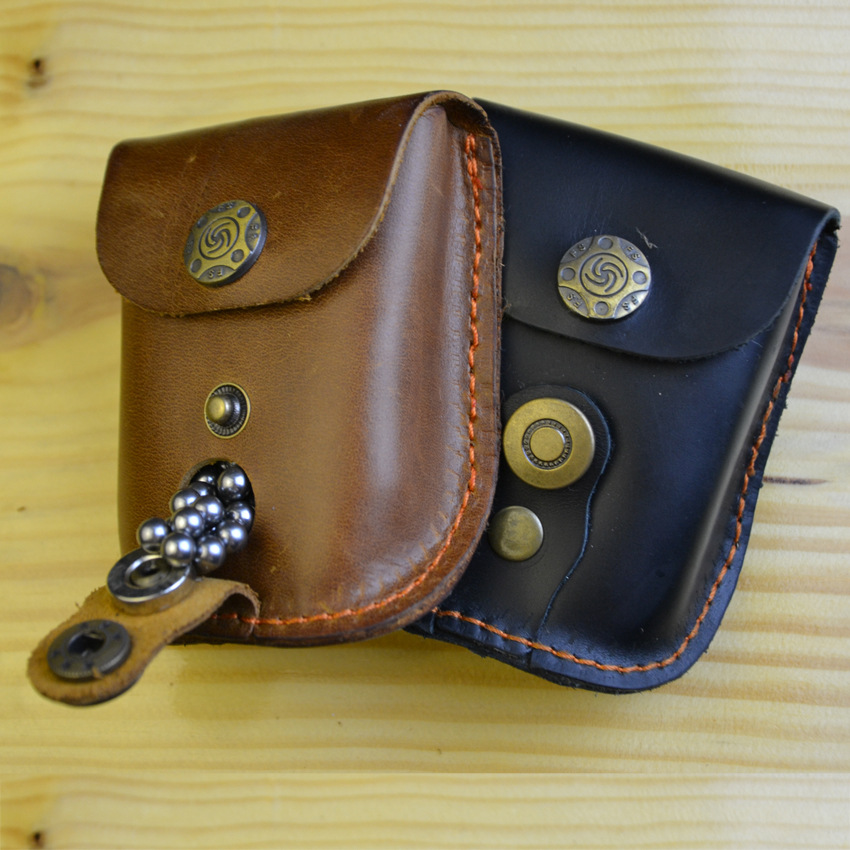 Leather Slingshot Pouch Catapult Case Steel Ammo Balls Waist Bag