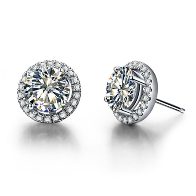0 5ct Each Round Cut Solitaire Nscd Lovely Diamond Engagement Earrings Stud Luxury Women Wedding