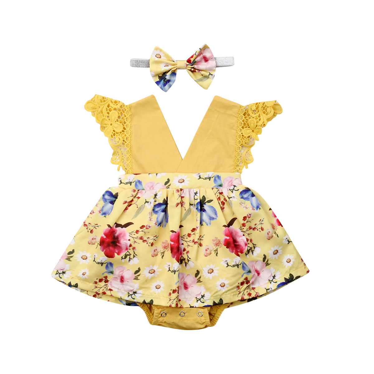 0-24M Newborn Baby Girls Ruffles Rompers Flower Lace Jumpsuit  V neck Girls Costumes Summer Cute Baby Clothes