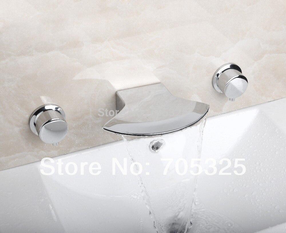 Ceramic  Deck Mounted 3PCS  Bathtub Double Handles  Chrome Polish Bathroom Basin & Sink Mixer Tap Faucet L-1265 deck mounted bathroom basin sink bathtub