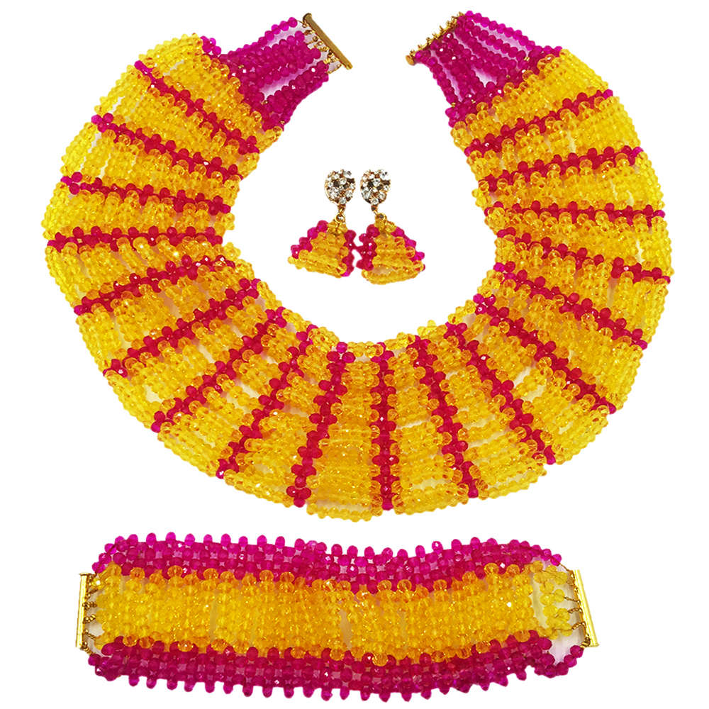 Fashion Yellow and Hot Pink Crystal Beaded African Necklace Nigerian Traditional Wedding Beads Jewelry Set 10C-SXK-020
