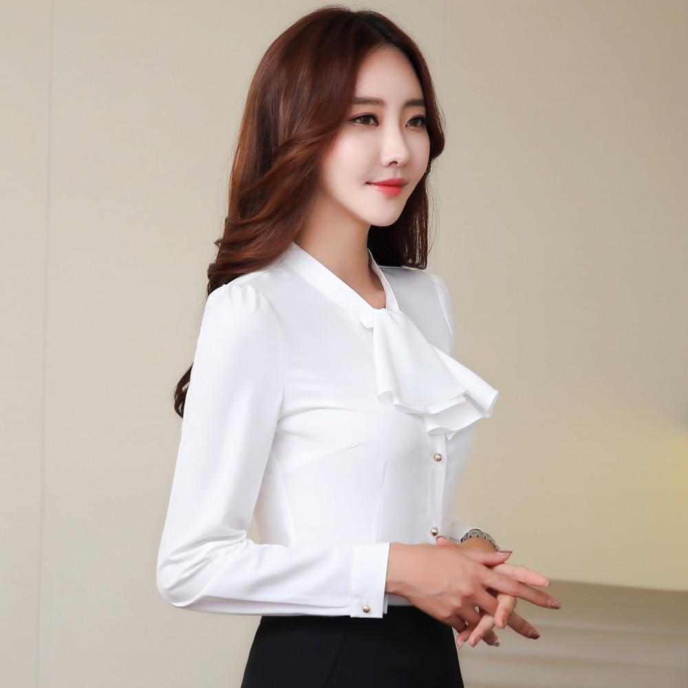 7907744862d2a 2018 Spring fashion Sexy V-Neck shirt women OL Career temperament formal  long sleeve chiffon blouse ...