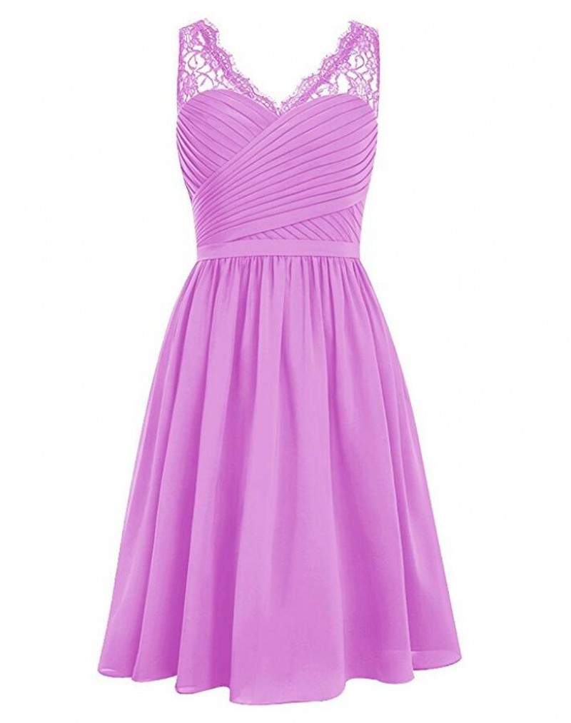 Grape V-neck Lace Shoulder Sleeveless Chiffon Short Bridesmaid Dress