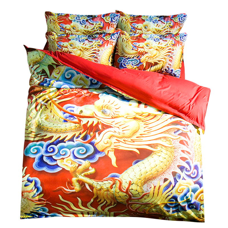 Traditional Chinese Dragon Bedding Set Twin Queen King Size Duvet Cover Bed Sheets Oriental Style Home