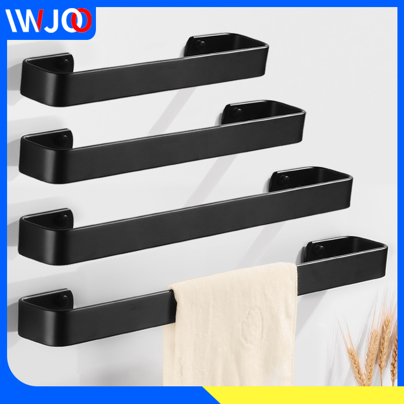 Towel Bar Black Towel Rack Hanging Holder Wall Mounted Washroom Bathroom Towel Holder Aluminum Creative Robe Bath Rail Hanger