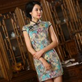 2017 British Style Short Cheongsam Dress Cotton Oriental Dresses Vintage Chinese Traditional Dress Plus Size Modern Qipao Dress