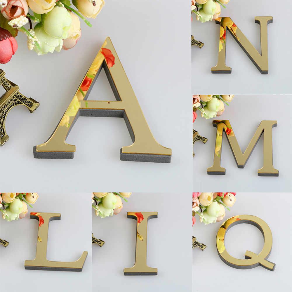 Miroir 3D auto-adhésif amovible carreaux   26 lettres de bricolage, autocollant Mural acrylique, décoration de salle, Art Mural D1