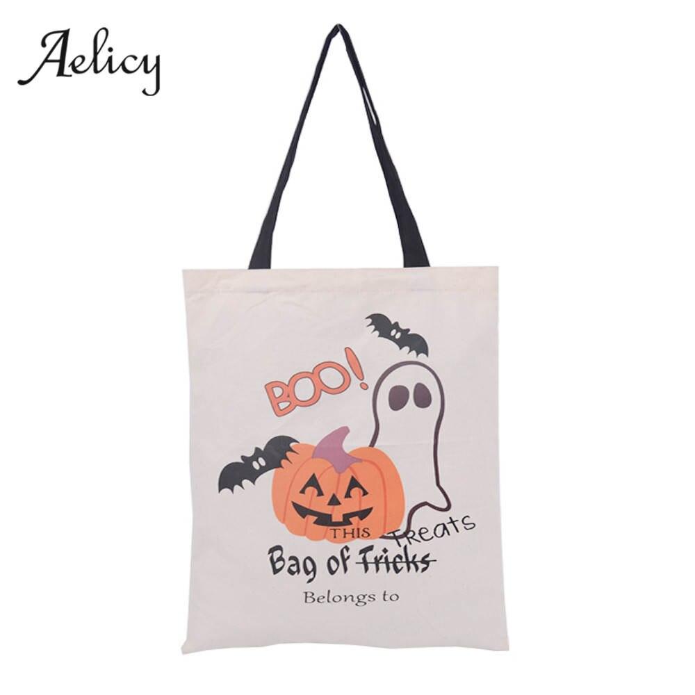 Halloween Candy Bag Gift Bag Canvas Tote Female Daily Use Female Shopping Bag Ladies Single Shoulder Handbag Beach Bags