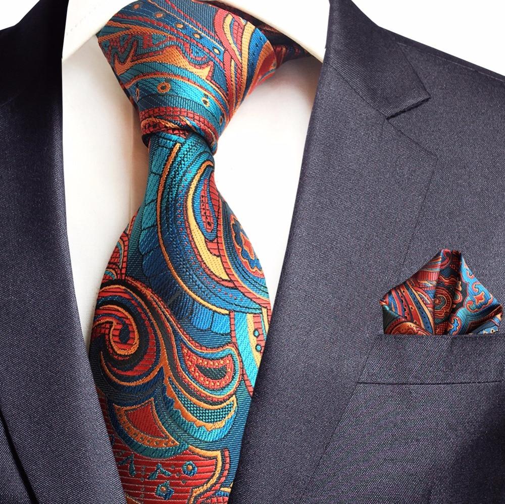 GUSLESON New Paisley Jacquard Woven Silk Mens Tie Handkerchief Set Neck Tie 8cm Striped Ties For Men Suit Business Wedding