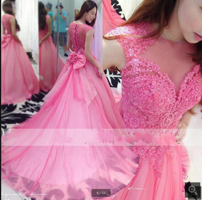 Baratos recién llegado de rosa bola de la manga casquillo prom dress ...