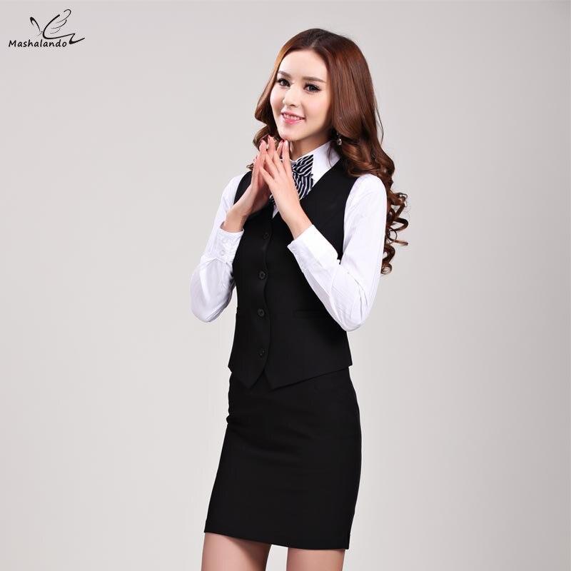2018 Summer Work Wear Women's Suits Skirt fashion OL plus size vest uniform female clothes vest set formal office ladies suits