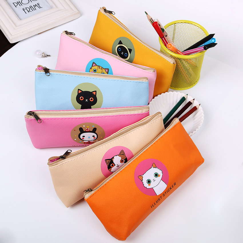 Cat Leather Stationery Large Capacity Pencil Case Lovely Waterproof Storage Bags