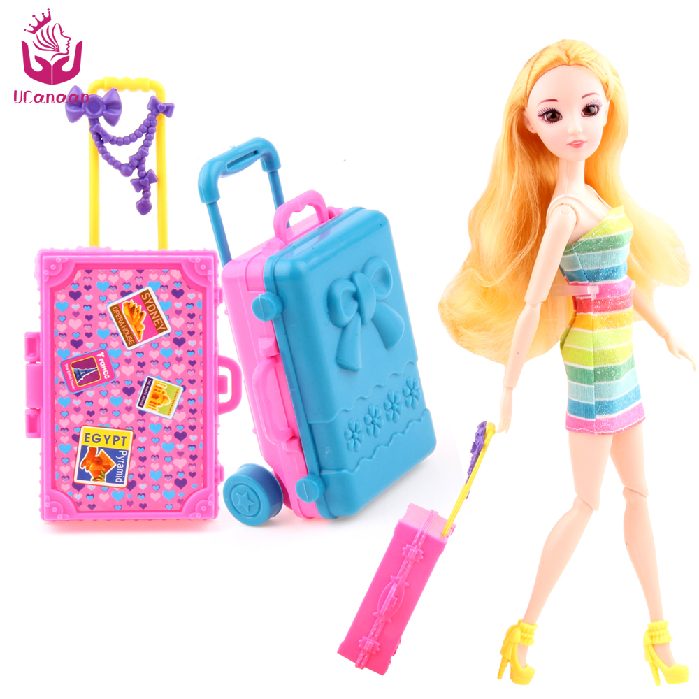 UCanaan 2 PC Plastic Travel Box for Barbie Doll Educational Classic Toy DIY Children Kids Baby Pretend Play Furniture Toys 32pcs set repair tools toy children builders plastic fancy party costume accessories set kids pretend play classic toys gift