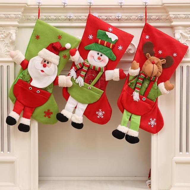 1pc 3d santa claus snowman deer christmas stockings christmas tree ornaments decorations xmas large gift holders