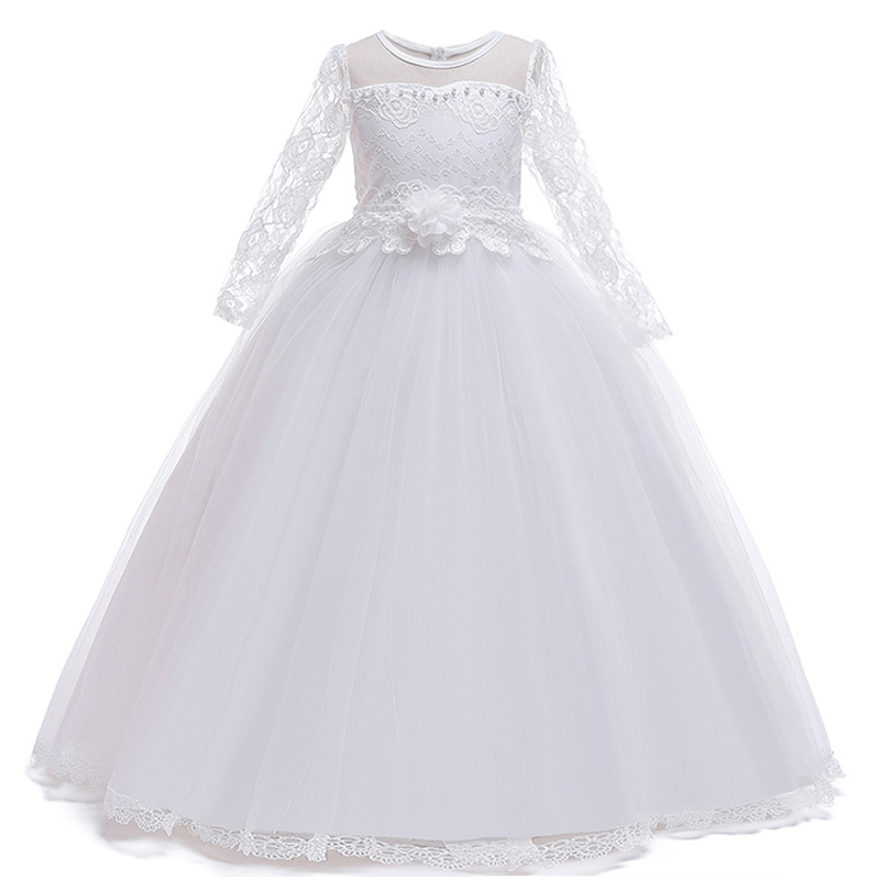 Girls   Princess Pageant Evening Party Long   Dress   First Communion   Dresses   Elegant White   Flower     Girls     Dress   Fluffy Vestido Comunion